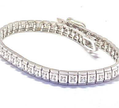 """2.00ctw Diamonique Tennis Bracelet Platinum & 925 Sterling Silver 7"""" Long"""