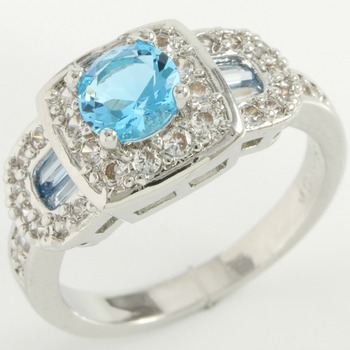 2.00ctw Swiss Blue Topaz & White Sapphire Ring Size 7