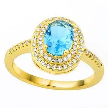 2.05ctw Blue Topaz & White Sapphire Ring Size 7