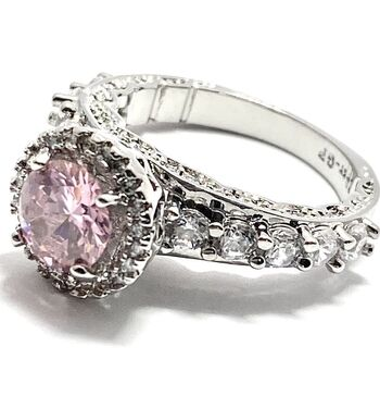 2.05ctw Pink & White Sapphire Gold Filled Ring Size 7