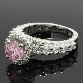 2.05ctw Pink & White Sapphire Ring Size 7 3/4