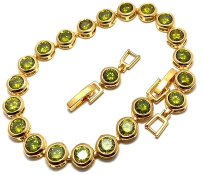 21.00ctw Man-made Peridot Tennis Bracelet with Extension