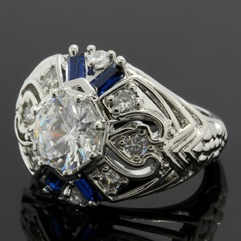 2.10ctw Blue & White Sapphire Ring Size 6.5