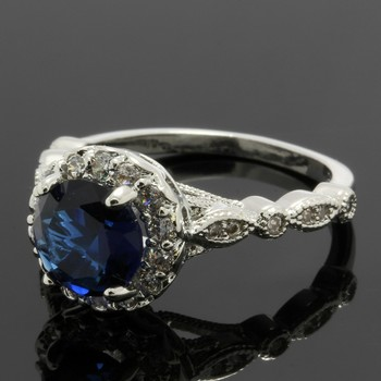 2.10ctw Blue & White Sapphire Ring Size 7