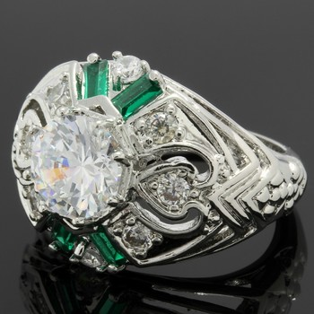 2.10ctw Emerald & White Sapphire Ring Size 6.5