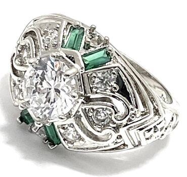2.10ctw Emerald & White Sapphire Ring Size 8