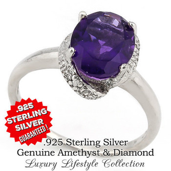2.10ctw Genuine Sparkling African Purple Amethyst With 0.01ctw Genuine Diamond .925 Solid Sterling Silver Ring Size 7