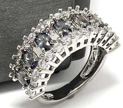 2.10ctw Green Mystic Topaz & White Sapphire Ring