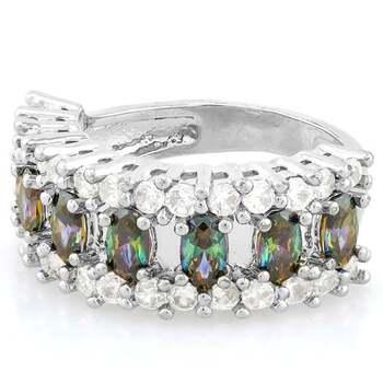 2.10ctw Green Mystic Topaz & White Sapphire Ring Size 7
