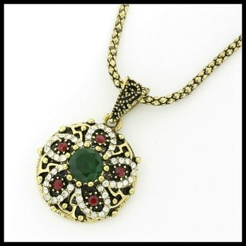 2.12ctw Emerald, Ruby & (AAA Grade) CZ's Necklace