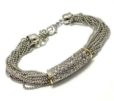 2.15ct White Topaz Multi Strand Chain Bracelet, 14k White & Yellow Gold Over