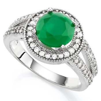 2.15ctw Beautifully Created Emerald and White Sapphire Ring Size 8