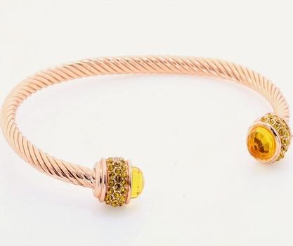 2.15ctw Golden Topaz Cable Bangle Bracelet