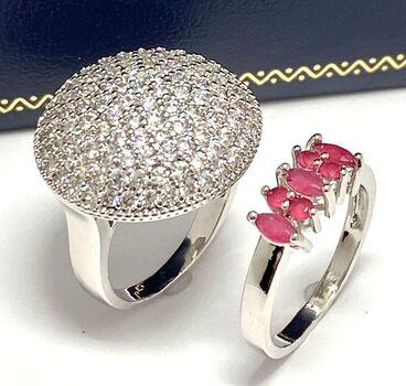 2.15ctw Ruby & Diamonique Lot of 2 Rings Size 8 & 8