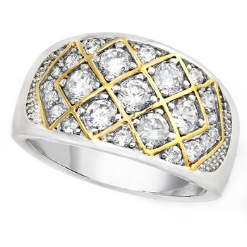 2.15ctw White Sapphire Fine Jewelry Brass with 3x Gold Overlay Ring Size 7