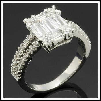 2.15ctw White Sapphire Fine Jewelry Brass with 3x Gold Overlay Ring Size 8