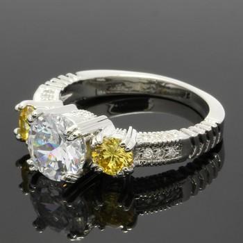 2.15ctw Yellow Topaz & White Sapphire Ring Size 6