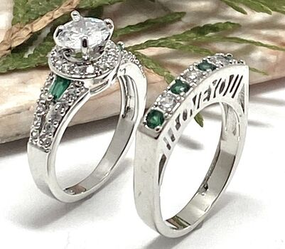 2.20ctw Cubic Zirconia & Man-made Emerald Lot of Two Rings Size 6.5