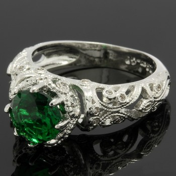 2.20ctw Emerald & White Sapphire Ring Size 6.5