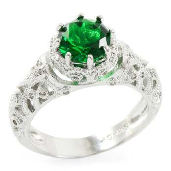 2.20ctw Emerald & White Sapphire Ring Size 7