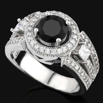 2.25ctw AAA+ Grade Fine Black and White Cubic Zirconia Ring sz 8
