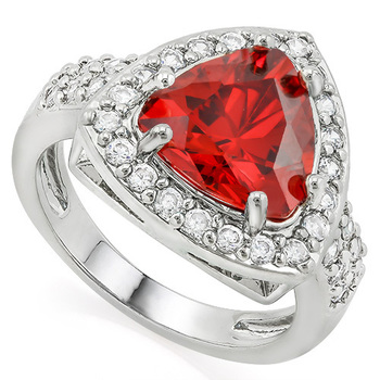 2.25ctw Garnet & White Sapphire Ring sz 8