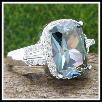 2.25ctw Green Mystic Topaz & White Sapphire Ring sz 7