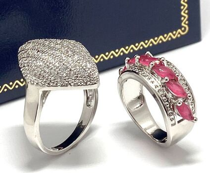 2.25ctw Ruby & Diamonique 2pc LOT Rings Size 6 & 8