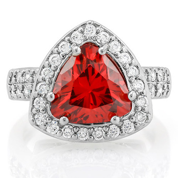 NO RESERVE 2.25ctw Ruby & White Sapphire Ring sz 6