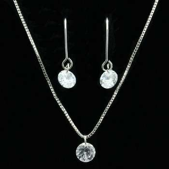 2.25ctw White Sapphire Set of Necklace & Earrings