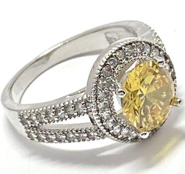 2.29ctw  Citrine & White Sapphire Ring Size 7