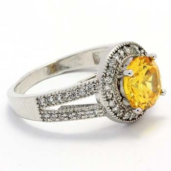 2.29ctw  Citrine & White Sapphire Ring Size 7