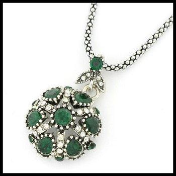 2.30ctw Emerald & (AAA Grade) CZ's Necklace