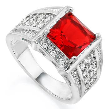 2.30ctw Garnet & White Sapphire Ring sz 7