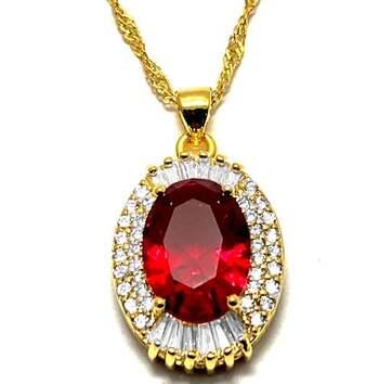 23.0ctw Red Corundum & 1.0ctw White Diamonique Necklace