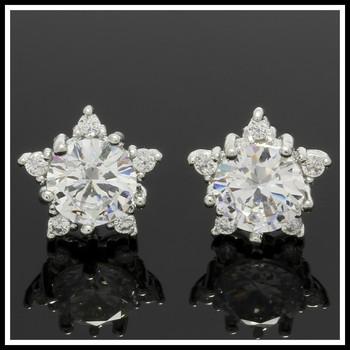 2.30ctw White Sapphire Star Stud Earrings