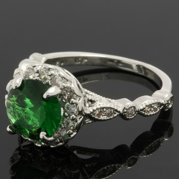 2.33ctw Emerald & White Sapphire Ring Size 6.5