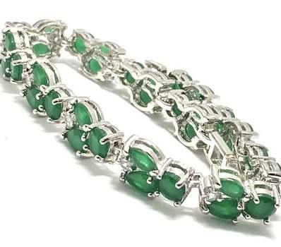23.50ctw Emerald & 0.75ctw White Diamonique Tennis Bracelet