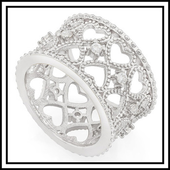 2.35ct 18k Gold Plated Heart Filigree Ring size 8