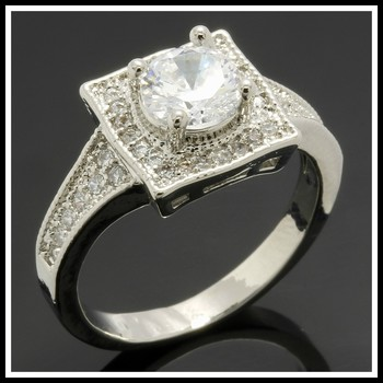 2.36ctw White Sapphire Fine Jewelry Brass with 3x Gold Overlay Ring Size 9