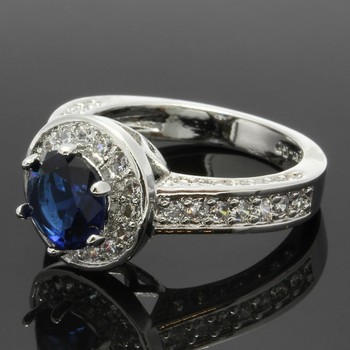 2.38ctw Blue & White Sapphire Ring Size 7
