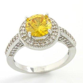 2.38ctw Yellow & White Topaz Ring size 7