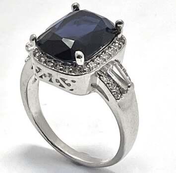 24.0ctw Sapphire & 1.0ctw White Diamonique Ring Size 8