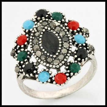 2.44ctw Multi-Color Gemstones Ring size 9 3/4
