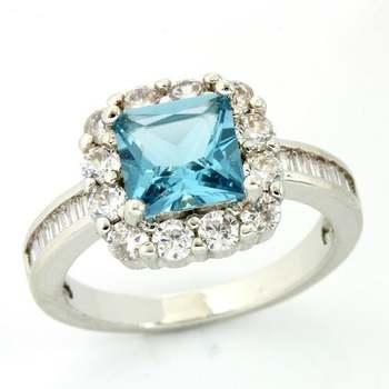 2.45ctw Blue & White Topaz Ring size 8