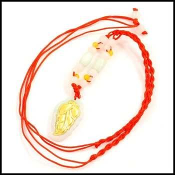 24k Yellow Gold, Genuine Jade Adjustable Leaf Necklace