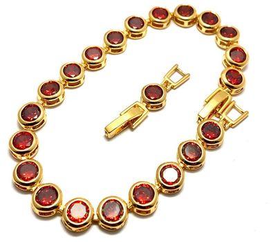 25.00ctw Man-made Garnet Tennis Bracelet with Extension