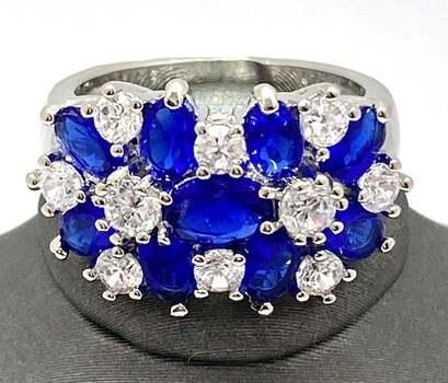 2.50ctw Blue & White Italian CZ's (AAA Grade) Ring