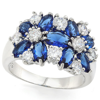 2.50ctw Blue & White Italian CZ's (AAA Grade) Ring sz 8