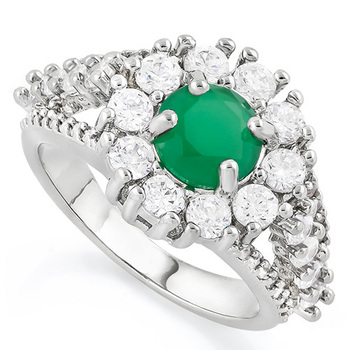 2.50ctw  Emerald & White Sapphire Ring  Size 8